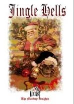 Santa. Skull in a black santa hat, baubels and blood.